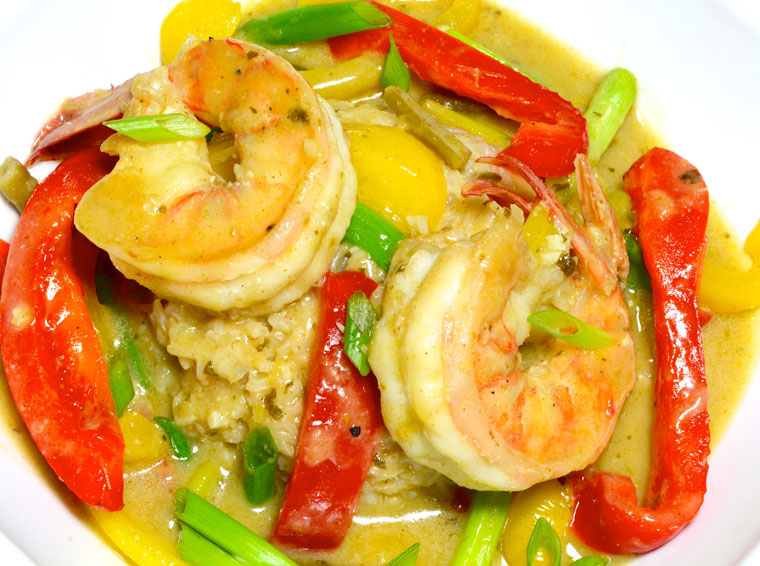 Thai Green Curry with Shrimp and Peppers