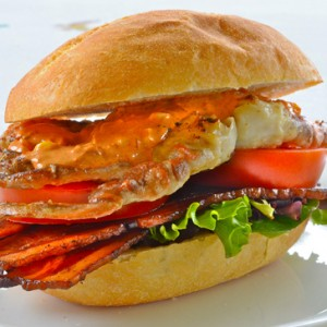 Smokey Paprika Soft-Shell Crab Sandwich with Bacon and Chipotle Remoulade